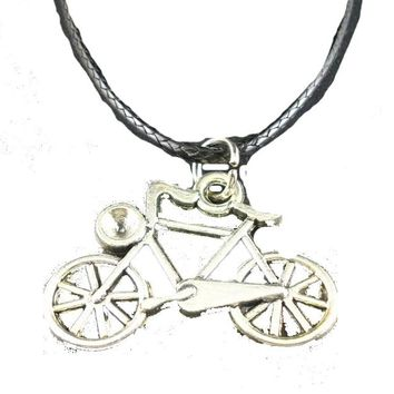 Vintage Leather Alloy Cute Bicycle Pendants Necklace For Women