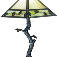 "0-021312>23""h Mission Vine Leaf Crooked Tree 1-Light Table Lamp Black"
