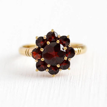 Vintage Garnet Ring - 10k Yellow Gold Shank Dark Red Gem Cluster Halo - Size 5 1/2 Gold Filled Top Germany January Birthstone Fine Jewelry