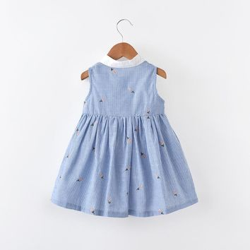 2017 autumn baby girl dress with animals applique princess dresses kids clothing 100% cotton children costume girls clothes