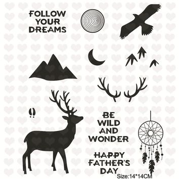 InLoveArts 12Pcs/lot 14*14cm 2018 New Clear Stamps for Scrapbooking Card Making Clear Stamps Phrases Christmas Stamps Deer Eagle