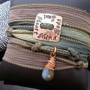 """D2E Hand dyed silk wrap bracelet with Hand stamped """"Heart Mind Body Soul"""" charm wire wrapped labradorite magnetic clasp"""