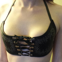 Genuine Leather Corset Front Bra Top with Flame Embroidery