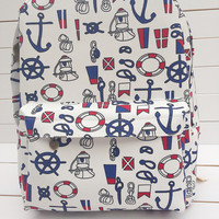 Korean Navy England Style Canvas Sea Vintage Army Style Backpack = 4887995844