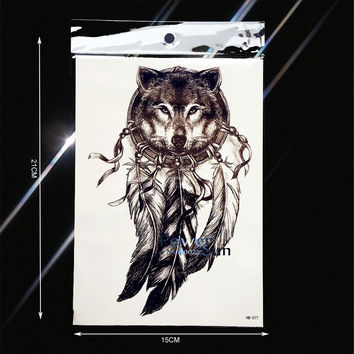 Hot Wolf Design Temporary Tattoo Dreamcatcher Indian Black Feather Totem Henna Flash Fake Tatoo Men Women Body Arm Sleeve Taty