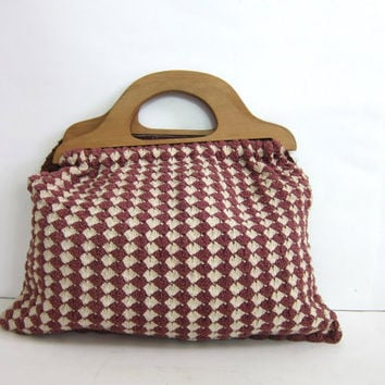 Vintage Wooden Handle Purse. Carpet bag fabric purse. Crochet clutch