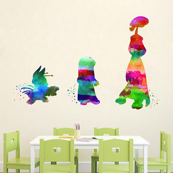 kcik2094 Full Color Wall decal Watercolor Lilo & Stitch Character Disney Sticker Disney children's room