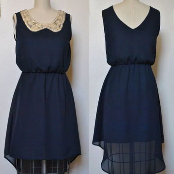 VENICE (Navy) : Navy Blue maxi dress, vintage inspired, khaki peter pan collar with sequins, high low shirred skirt, party, day