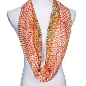 Green, Orange, Red, Cream Silk Scarf, Paisely, Jerecavanagh's, Bohemian Chic, Wrap, Long Scarf, Made in India