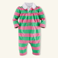 RUGBY-STRIPED COTTON COVERALL
