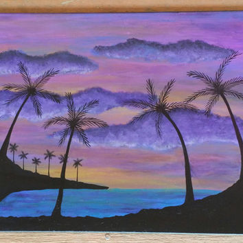 Handpainted Sunset, Beach sunset, Palm tree wall decor, canvas wall decor, Ocean Decor, Beach decor, mothers day gift, acrylic painted art