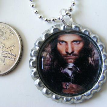 Bottle Cap Pendant - ARAGORN - LOTR - Ranger - Strider - Lord of the Rings -  bottlecap - with 24-inch silverplated Ball Chain Necklace