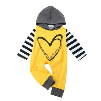 Autumn Knitted baby boys girls clothes set long-sleeve Heart Letter Stripe Hoodie Romper Outfits Clothes #ES