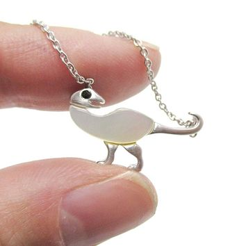 Ornithomimus Dinosaur Shaped Pendant Necklace in Silver with Pearl Detail   DOTOLY