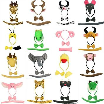 Adult Boy Girl Animal Headband Bow Tie Tail Cosplay Set Birthday Party Performance Props Halloween costume for kids  Christmas