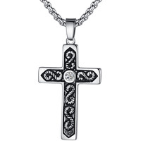 Stainless Steel Cross W. Cubic Zirconia and S Shapes Pendant Necklace