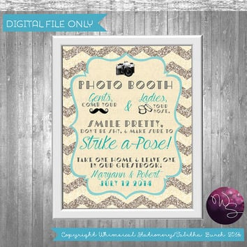 "Photo Booth Sign for Wedding ""Don't Be Shy""  (Printable File Only) Art Deco 20's Elegant Fun Glitter Chevron Photo Booth Prop"
