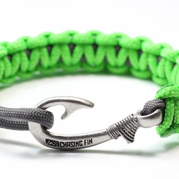 New Slim Cobra Braid Fish Hook Bracelet (Neon Green & Gray)
