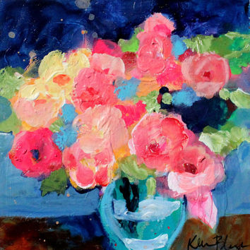 "Small Floral Still Life, Abstract Flower Acrylic Painting, Little Original Artwork, ""Roses in a Vase"""