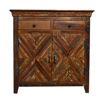 Reclaimed  Rustic Free Standing Consol Storage Cabinet with  Drawers