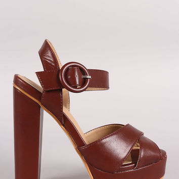 Cross Band Ankle Strap Chunky Platform Heel