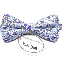 Bow Tie - floral bow tie - wedding bow tie - white bow tie with blue flowers - man bow tie - men bow tie