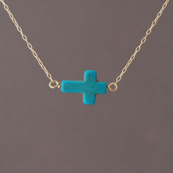 Horizontal Sideways Turquoise Cross Necklace in gold or silver