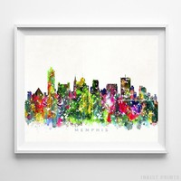 Memphis Tennessee Watercolor Skyline Wall Art Home Decor Poster UNFRAMED by Inkist Prints
