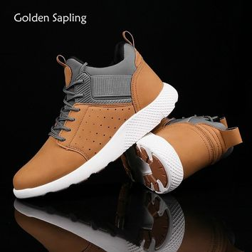 Golden Sapling Breathable Leather Sport Shoes Men Sneakers Outdoor Rubber Trainers Male Sports Sneakers Top Mens Running Shoes