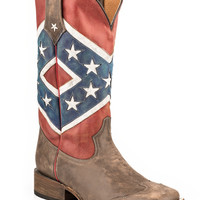 Roper Mens American Flags Boots Rebel Flag Brown Toe Cap Sq Toe
