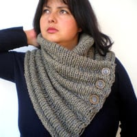 Melange Taupe ChunkyWave Cross Cowl Super Soft Mixed  Wool Neckwarmer Unisex  Fashion Cowl Chunky Texture Cowlneck NEW COLLECTION