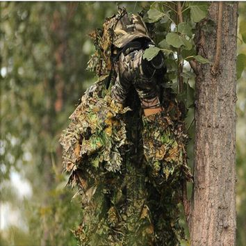 High quality 3D camouflage bionic leaf hunting Ghillie suit jungle woodland birdwatching poncho invisible hunting costume