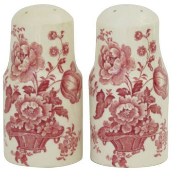Red Transferware Salt and Pepper Shakers Basket of Roses Flowers Charlotte