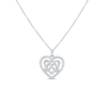 Sterling Silver Cz Celtic Knot Heart Necklace 18""