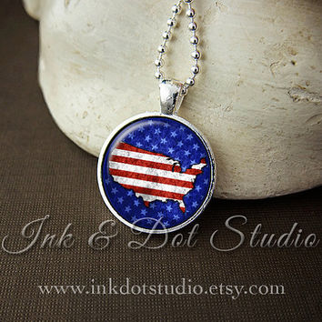 Patriotic United States Necklace, Stars and Stripes Necklace, American Flag Necklace, Independence Day Pendant, July 4th