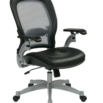 Professional Light AirGrid® Chair with Leather Seat and Platinum Finish Accents, Cantilever Arms, and V-Back Support