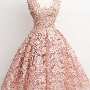 Vintage Ivory Lace Homecoming Dress