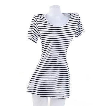 Casual Women Dress Fashion Short Sleeve Sexy Dresses Summer Party Black White Stripes Dress Above Knee Vestidos
