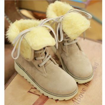 Autumn and winter snow boots in the tube pure sweet warm warmed boots before the boots with medium-length boots