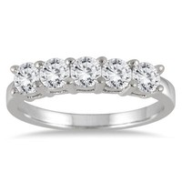 1 Carat Five Stone Wedding Band in 14K White Gold