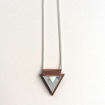 Overlay Triangle Necklace in Silver and Cream by Wolf & Moon
