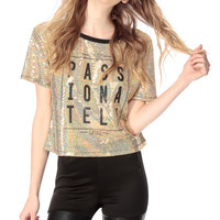 Gold Passionately Curious Sequin Top