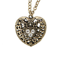 Burnished Gold Tone 3D Heart Necklace