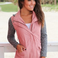 Mauve Jacket with Gray Hood and Sleeves
