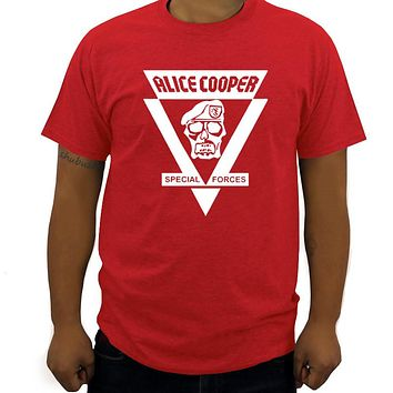 men t shirt Heavy metal band Alice Cooper t shirt Special Forces skull t shirt for teens tee shirt home