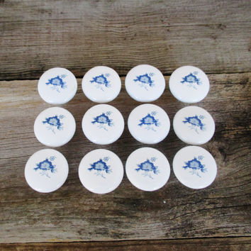 12 Salvaged Blue Flower Ceramic Drawer Knobs Vintage Ceramic White Knobs Salvaged Hardware Blue Flower Knobs White Cabinet Drawer Pulls