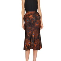 Silk Peacock Print Midi Skirt by Givenchy at Gilt
