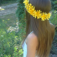 Daisy Headband, Daisy Crown, Daisy Halo, Festival Wear, Coachella, Ezoo, Rave, Bridal, Hippie Headband, EDC, yellow daisy headband