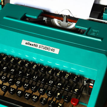 Olivetti Working Typewriter - Vintage Aquamarine Olivetti Studio 45 - Working Perfectly