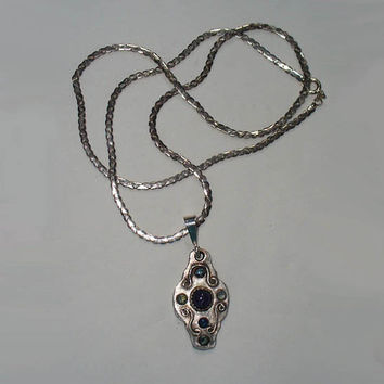 Tanzanite and Sapphires in Solid Silver Pendant Necklace